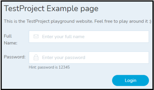 TestProject Example Page