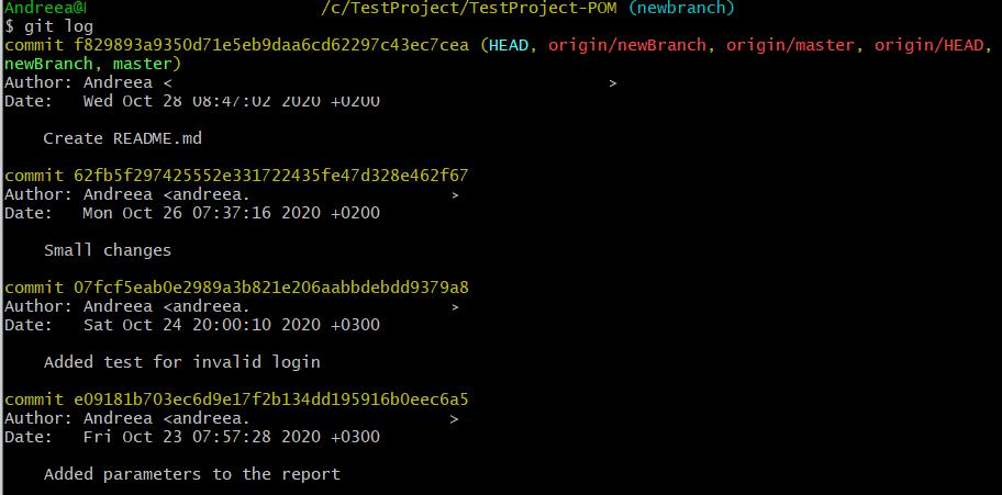 Useful Git Commands: git log