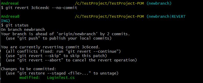 Git revert no-commit