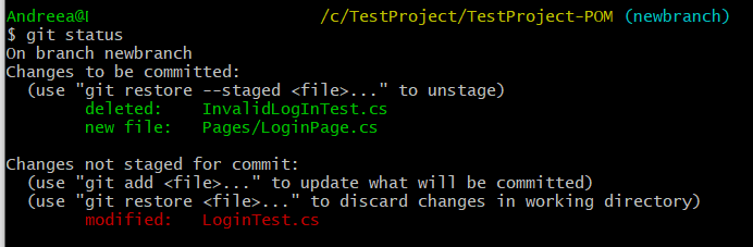 Git status with unstaged changes