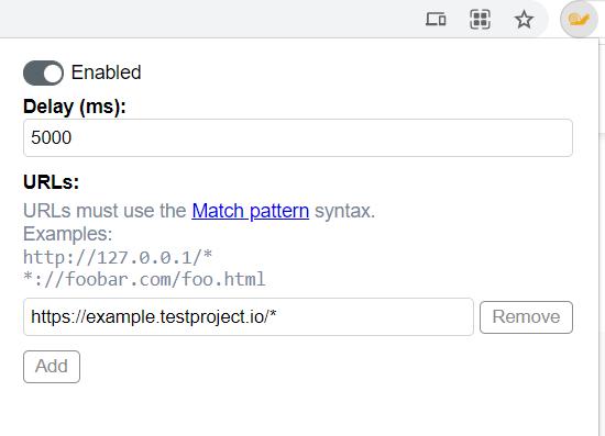 testing slow connection: URL Throttler for Chrome